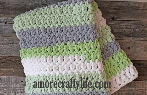 Crochet Striped Baby Blanket Afghan Green Yellow