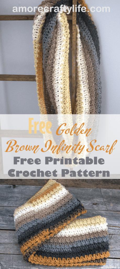 padrão de crochê de lenço infinito marrom dourado grátis - padrão de lenço fácil - amorecraftylife.com