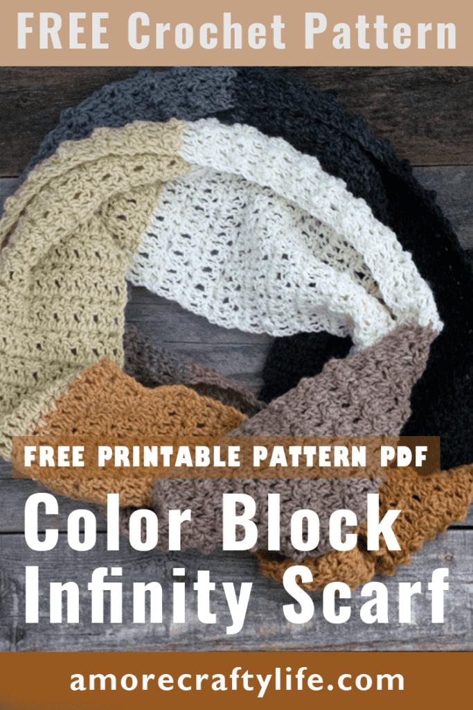 padrão de crochê de lenço infinito de bloco de cores grátis - padrão de lenço infinito fácil - amorecraftylife.com